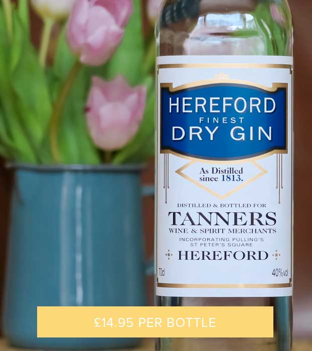HEREFORD FINEST DRY GIN, TANNERS, 40% VOL